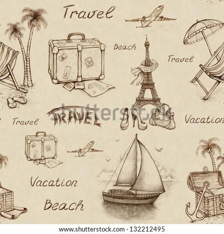Vintage travel illustrations and backgrounds