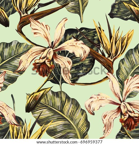 Vintage seamless tropical pattern background with exotic flowers, jungle leaves, orchid, bird of paradise flower. Botanical natural wallpaper, illustration in Hawaiian style