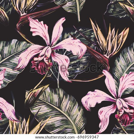 Vintage seamless tropical pattern background with exotic flowers, palm leaves, jungle leaf, orchid, bird of paradise flower. Botanical wallpaper, illustration in Hawaiian style