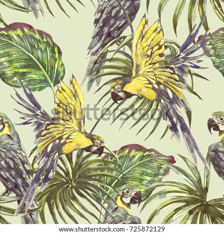 Vintage seamless tropical pattern background with parrots, exotic birds, palm leaves, jungle leaf. Botanical natural wallpaper, Watercolor illustration