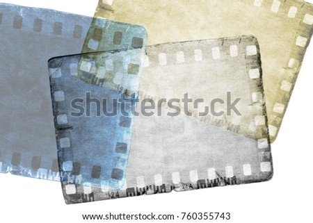 Vintage sepia and blue film strip frame on old and damaged paper background.