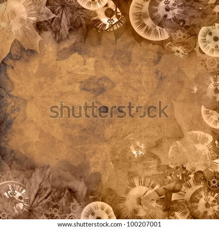 vintage sepia background with clocks and leaves