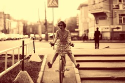 Vintage sepia portrait of a girl hipster concept
