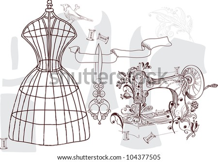 Vintage set - fashion and sewing, illustration