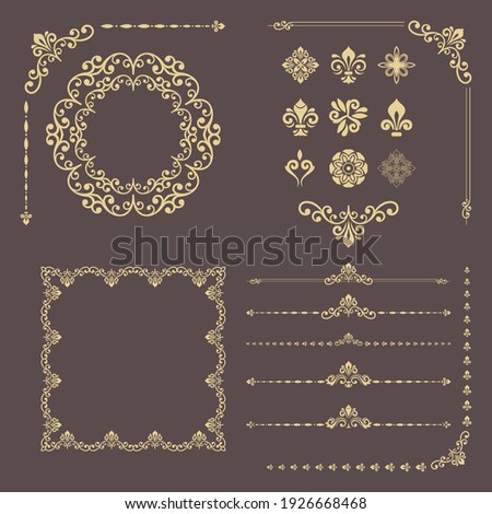 Vintage set of horizontal, square and round elements. Different elements for backgrounds, frames and monograms. Classic golden patterns. Set of vintage patterns
