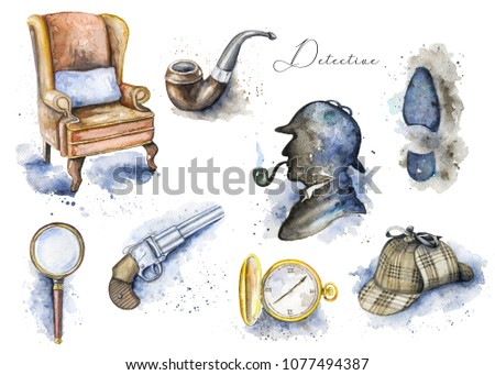 Vintage set with hat, smoking pipe, pistol, footprint, chair, magnifier, pocket watch and silhouette of Sherlock Holmes on white background. Watercolor hand drawn illustration