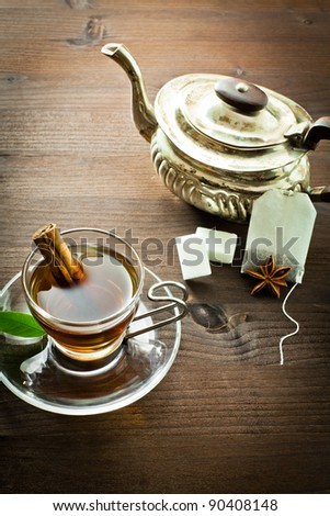 vintage setting, from tea and various decorations on wood