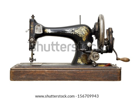 vintage sewing machine isolated ...