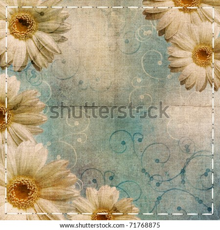 vintage shabby blue background with camomile
