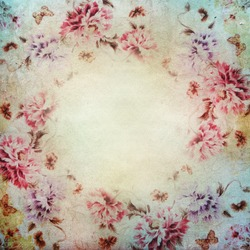 Vintage shabby chic background with roses