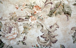 Vintage shabby chic wallpaper with floral victorian pattern and craquelure