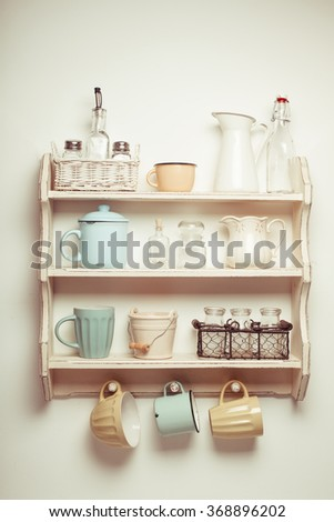 Vintage shelf in the kitchen, shabby chic style, retro toned