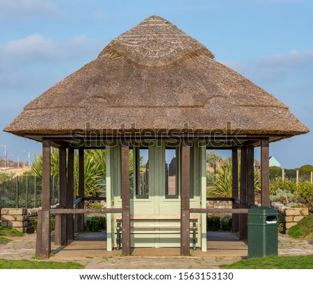 Vintage shelter which has recently been re-thatched. #1563153130