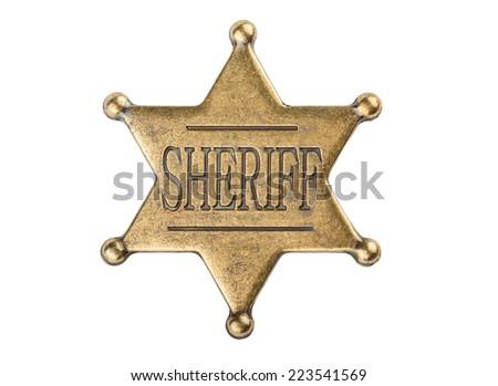 Vintage sheriff star badge isolated on white background Stock fotó ©