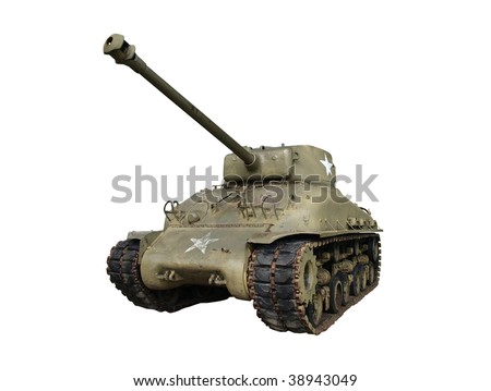 Vintage sherman tank from world war two.