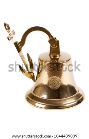 Vintage ship bell on white background