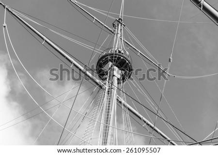 Vintage ship mast black and white photography.