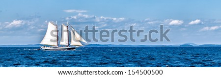 Vintage ship sailing panorama banner