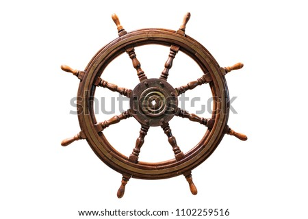 vintage ship wheel made of wood. isolated on white background.
