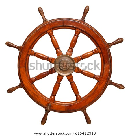 Vintage ships wheel made of dark wood. Isolated on a white background #615412313