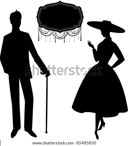 Vintage silhouette of girl with man.
