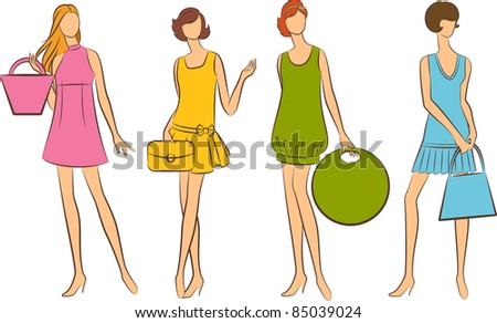 Vintage silhouettes of girls with bag.
