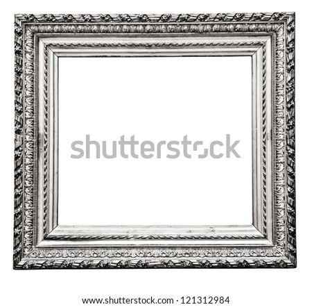 Vintage Silver Frame Isolated On White Ez Canvas