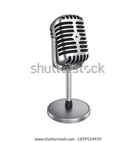 Vintage silver microphone isolated on white background, 3d render