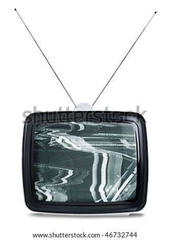 Vintage sixties TV set isolated on white background