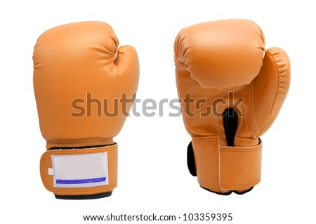 Vintage Skin color Boxing gloves Front and Back side with white blackground - stock photo