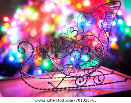 Vintage Sledges On Christmas Lights Background