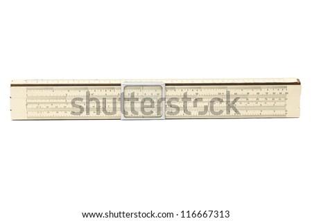 Vintage slide rule isolated on white