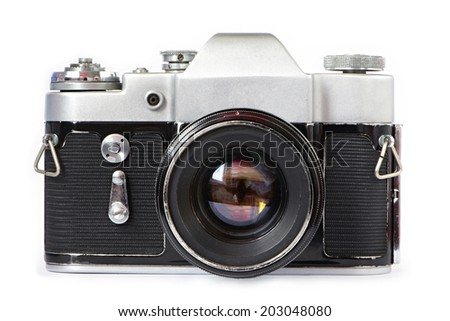 Vintage SLR camera isolated