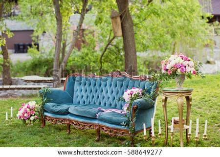 vintage sofa and flower...