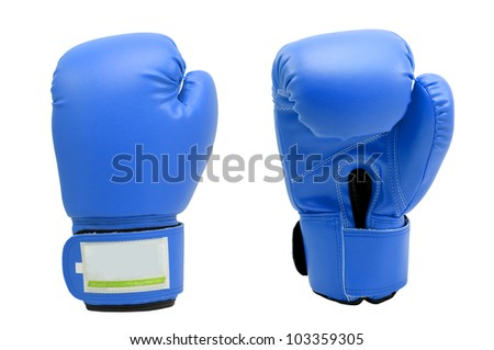 Vintage  soft blue color Boxing gloves Front and Back side with white blackground - stock photo