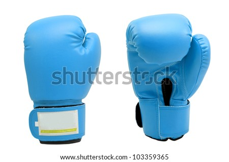Vintage  soft blue color Boxing gloves Front and Back side with white blackground