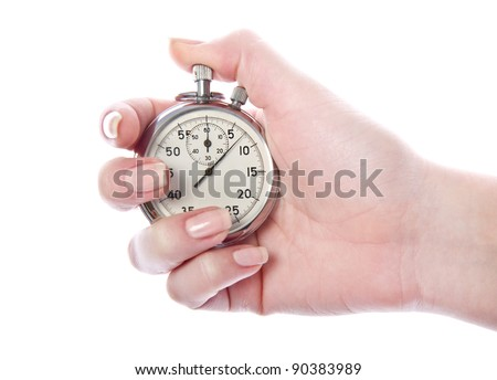 Vintage sport timer stop watch in a woman's hand. Isolated on white