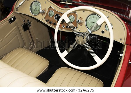 vintage sports car cockpit