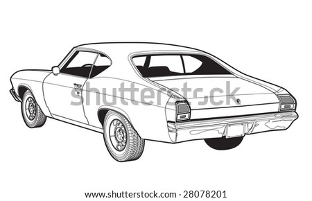 Vintage Sports Coupe Line Drawing (Vector Available)