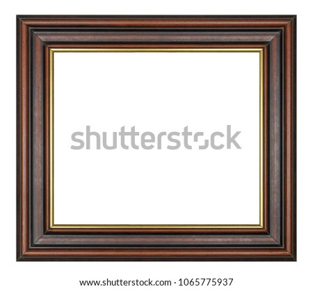 Vintage square brown wooden frame on a white background, isolated