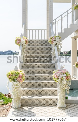 Free Photos Beautiful Wedding Flower Decoration At Stairs Avopix Com