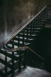Vintage staircase in old tenement house in Lublin, Poland