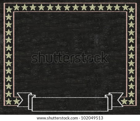 vintage stars blank banner written on blackboard background high resolution, easy to use