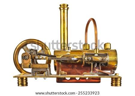 vintage steam engine isolated...