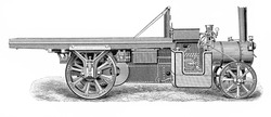 Vintage steam engine truck from the end of 19th century - Picture from Meyers Lexicon books collection (written in German language ) published in 1908 , Germany.