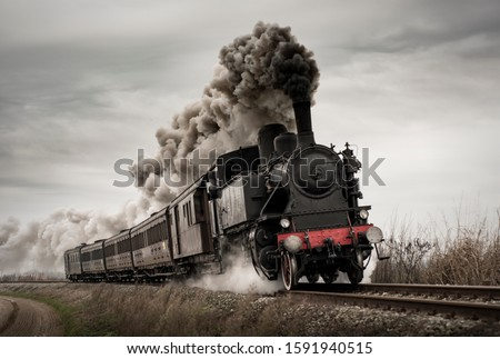 Vintage steam train with ancient locomotive and old carriages runs on the tracks in the countryside Photo stock ©