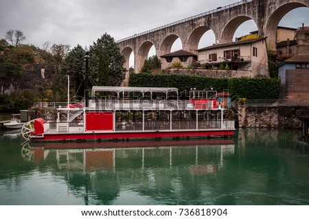 vintage steamboat and its...