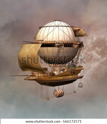 Vintage steampunk airship - 3D illustration