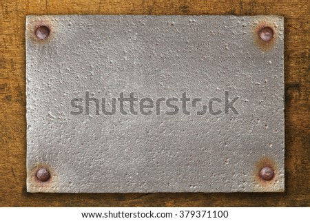 vintage steel plate on brown...