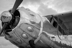 Vintage steel propeller plane polished up at air show shot in black & white